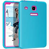 """Galaxy Tab """"E"""" 8.0 Case, Hocase Double Layer Rugged Hard Rubber Protective Case Cover for Samsung Galaxy Tab E 8.0""""-inch SM-T377 AT&T / T-Mobile / U.S. Cellular / Verizon - Sky Blue / Deep Pink"""