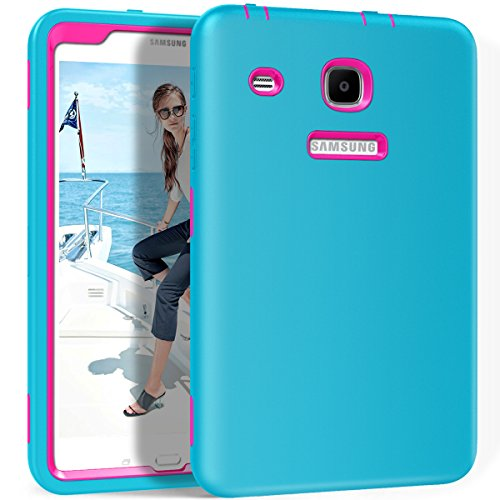 Galaxy Tab E 8.0 Case, Hocase Heavy Duty Shockproof Hybrid Silicone Rubber Bumper+Hard Shell Full Body Protective Case for Samsung Galaxy Tab E 8 SM-T375/SM-T377/SM-T378 - Sky Blue / Deep Pink