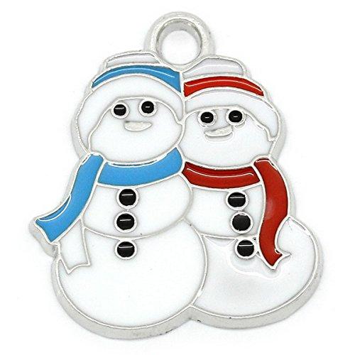 Christmas Snowman Charm (Housweety 10 PCs Charm Pendants Enamel Christmas Snowman Silver Tone)