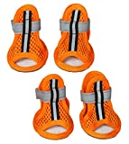 Pet Life Sporty Supportive' Summer mesh Pet Dog Sandals Shoes Booties- Set of 4, Small, Orange