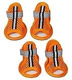 Pet Life Sporty Supportive' Summer mesh Pet Dog Sandals Shoes Booties- Set of 4, Medium, Orange