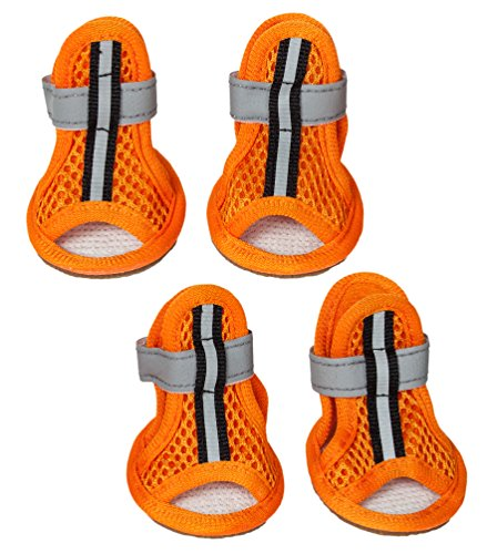 PET LIFE 'Sporty Supportive' Summer mesh Pet Dog Sandals Shoes Booties- Set of 4, Small, Orange from Pet Life