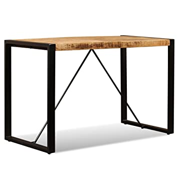 Festnight Retro Stil Esszimmertisch Esstisch Raues Massiv Mangoholz Küchen  Tisch mit Stahlbeine 120 x 60 x 76 cm