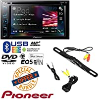 Pioneer AVH-290BT Multimedia DVD Receiver with 6.2 WVGA Display and Built-in Bluetooth W/ CAM-600 License Plate Bolt-On Rear View Camera w/ Built-In I.R. Camera