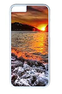 iPhone 6 Case - Beautiful Beach Sunrise Illustrators Series Protective Hard White Case Cover Skin For iPhone 6 (4.7 inch)