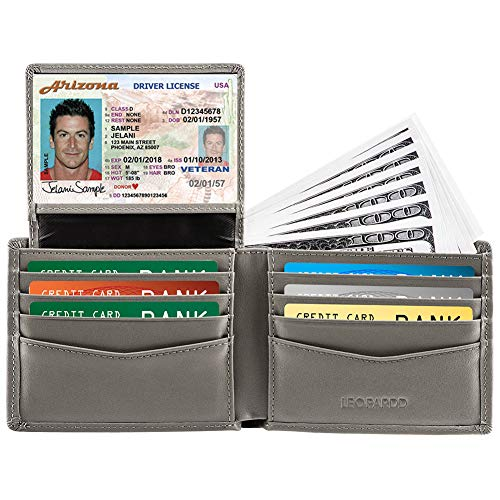 RFID Blocking Mens Wallet - Excellent Genuine Leather Bifold Wallet/Credit Card Holder for Men