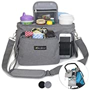 Best Stroller Organizer with Cup Holders - Universal Fit - Premium Storage Bag for Moms Phone, Wallet, Keys, Snacks, Baby Items - Zip Off Wristlet - Baby Travel Accessories - Perfect Baby Shower Item