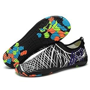 Lxso Men Women Water Shoes Multifunctional Quick-Dry Aqua Shoes Lightweight Swim Shoes With Drainage Hole (10.5US-women/8US-men=EU/FR 41, White/Black)
