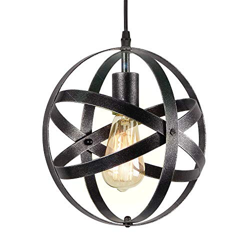 Eumyviv P0013 1-Light Spherical Displays Changeable Industrial Pendant Ceiling Light Edison Vintage Decorative Hanging Lighting Fixtures Lighting Luminaire