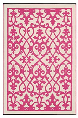 Fab Habitat Venice Cream & Pink Outdoor Mat Assorted Sizes