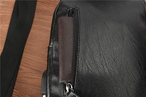La En noir Sac Pour À Multifonction Mode Bandoulière Hommes Pu D'épaule Dos Cuir qwOpWRn