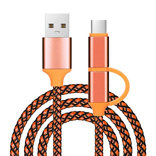 SUNSEE ELECTRONICS 1M Practical 2in1 Micro USB and USB Type C Adapter + Data Charger Charging Cable (Orange, 1M)