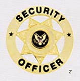 Gold Security Guard Officer 7-Point Star Badge Shield Federal Seal Crest Center