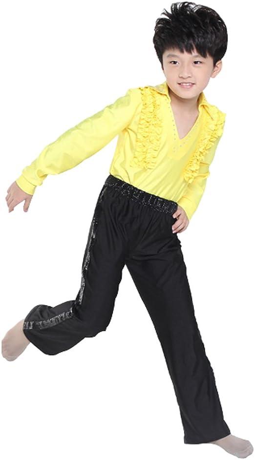 Yefree Camisa de Baile Latino Niños Adultos de Manga Larga Negro Slim Dance Tops Leotardo Dance Wear para Niños: Amazon.es: Ropa y accesorios