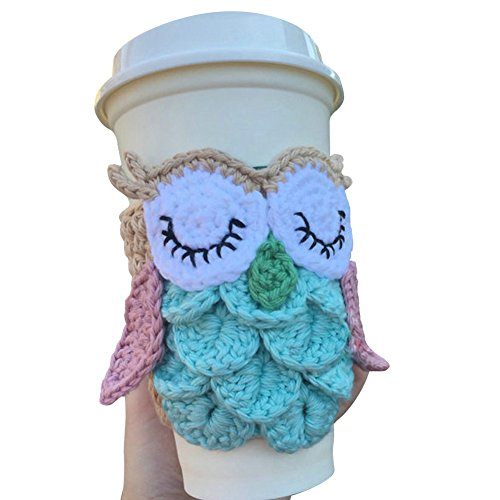 TINTON LIFE Super Cute Reusable Handmade Coffee Cup Sleeve Cup Sweater(Owl) by TINTON LIFE