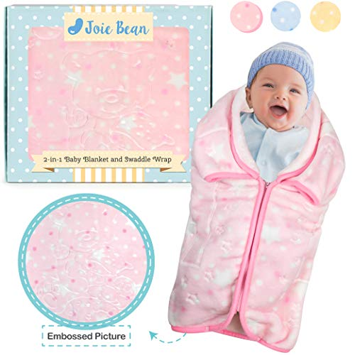- JOIE BEAN Swaddle Blanket Adjustable Baby Wrap | Toddler and Baby Blanket 2 in 1 Sleep Sack Bag | Soft Micro Plush Fleece Infant Sleeping Bag and Wearable Blanket| 35 x 31 Inches Pink