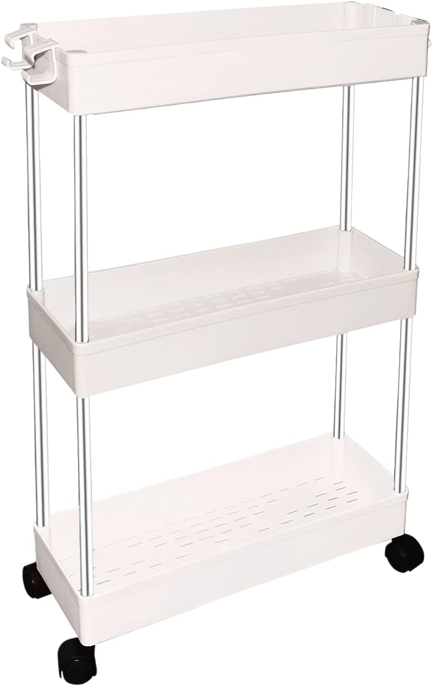 3 Tier Slim Storage Cart, Mobile Shelving Unit Organizer, Slide Out Movable Storage, Rolling Utility Cart Tower Rack with Handle for Office, Kitchen Bathroom Laundry Narrow Places (3 Tier-White B)