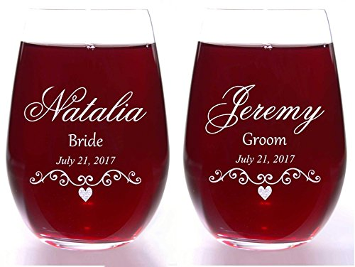Bride Groom Wine Glass Set (2) with Filigree and Heart Personalized