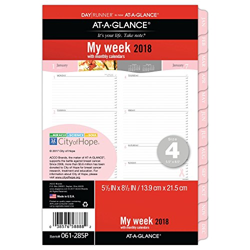 AT-A-GLANCE Weekly / Monthly Refill, Day Runner, January 2018 - December 2018, 5-1/2