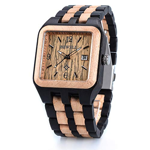- Bewell W111A Men's Square Multicolor Wood Watches Quartz Analog Movement Date Wristwatch