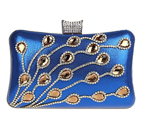Bags Shining Clutch Evening Luxury a Purse KAXIDY mano Ladies Tote Borsa Rhinestones blu 86IEnw4q