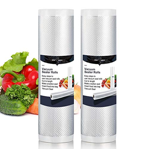 2Pack Recycled Vacuum Sealer Bags Rolls White Dolphin 7.87 * 196.85″ Save More Space Keep Food Fresh