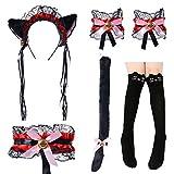 Cute Cat Cosplay Costume Anime Maid Lolita Ears Headband Collar Bracelet Kitten Tail Socks Set(Black Red)