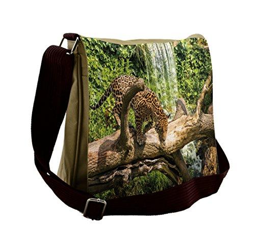 Price comparison product image Lunarable Safari Messenger Bag,  Jaguar Cat on Tree Trunk,  Unisex Cross-body