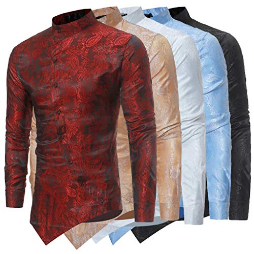 Muscle Irraguler Manche Homme T Printemps Imprimé Top shirt Men Chemisier Ihengh Rouge Shirt Slim Hommes Vin Fit Haut Longue Blouse À IEnOfwqfd8
