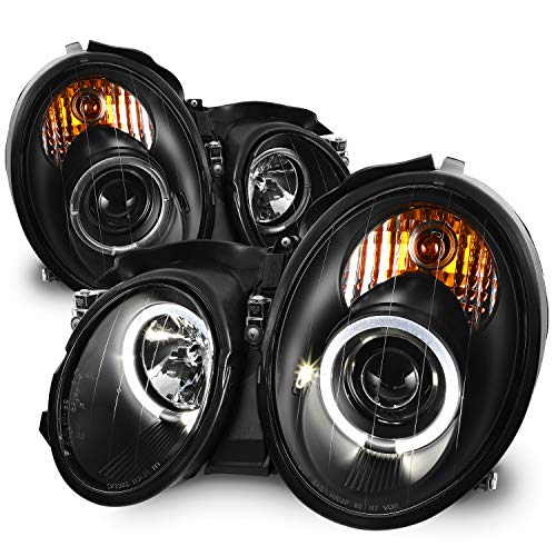 - For 98-02 Mercedes Benz W208 CLK-Class 320/430 55AMG Black Bezel LED Dual Halo Ring Halogen Type Projector Headlights