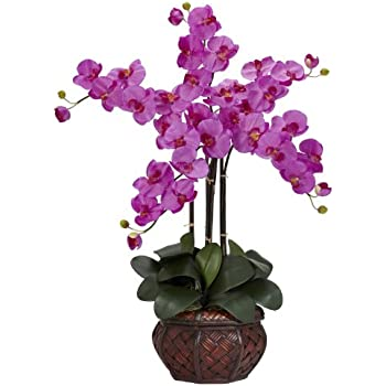 Nearly Natural 1211-OR Phalaenopsis with Decorative Vase Silk Flower Arrangement, Orchid