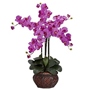 Nearly Natural 1211-OR Phalaenopsis with Decorative Vase Silk Flower Arrangement, Orchid 16