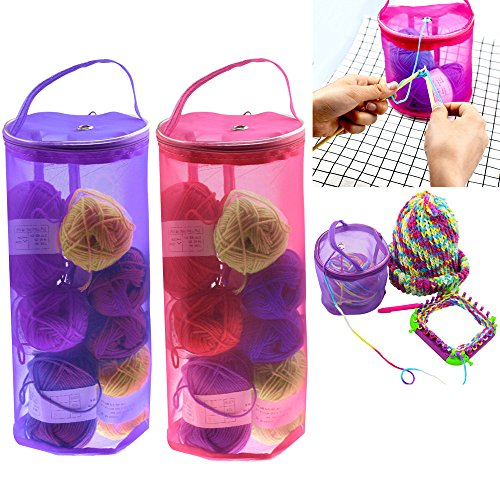 Gotian New !!! Mesh Bag Lightweight Portable Yarn Crochet Thread Storage Organizer Tote ~ Wool Storage Bag, Knitting Assistant Tools, Thread Storage Bag, Handbag (Hot Pink) ()