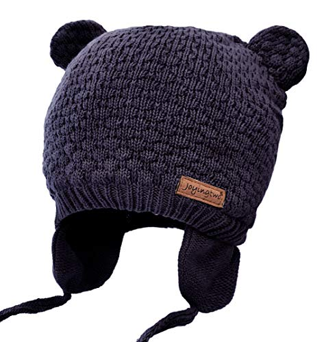 Joyingtwo Soft Warm Knit Wool Cute Bear Baby/Infant/Toddler Beanie Hat with Earflap for Winter/Autumn, Navy Blue M