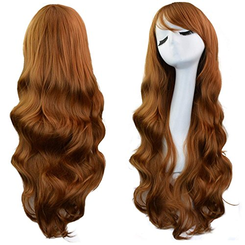 Anime Witch Dress Up (Rbenxia Curly Cosplay Wig Long Hair Heat Resistant Spiral Costume Wigs Anime Fashion Wavy Curly Cosplay Daily Party Brown 32