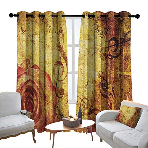 Customized Curtains Rose,Old Fashioned Design with a Big Rose and Treble Clefs Music Notes Harmonical Concept, Cream Red,Blackout Thermal Insulated,Grommet Curtain Panel Set of 2 100