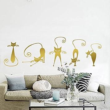 5 Pegatinas silueta gato color dorado pared vinilo decorativo escaparates mascotas perros gatos clinicas veterinarias de CHIPYHOME: Amazon.es: Bricolaje y ...
