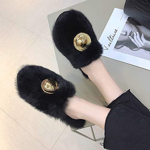 Couleur Femme Brown Couleur d'hiver Porter Taille Élégante Coréenne Taille TD Plat Standard Version À en Chaussures Fourrure Solide Chaussures Femme 39yards Noir Et Pois L'extérieur Automne Bx6ftw
