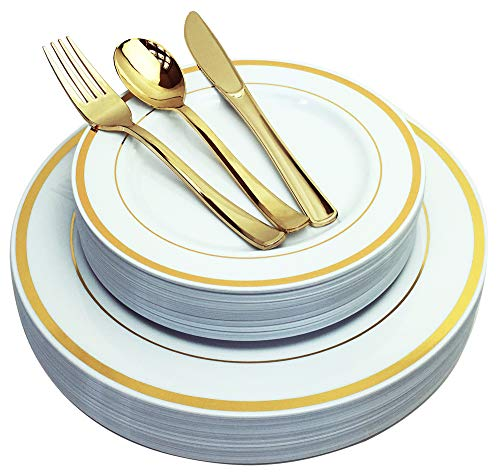 JL Prime 125 Piece Gold Plastic Plates & Cutlery Set, Heavy Duty Disposable Plastic Plates with Gold Rim & Silverware for Party & Wedding, Dinner & Salad Plates Forks Knives Spoons 25 Each