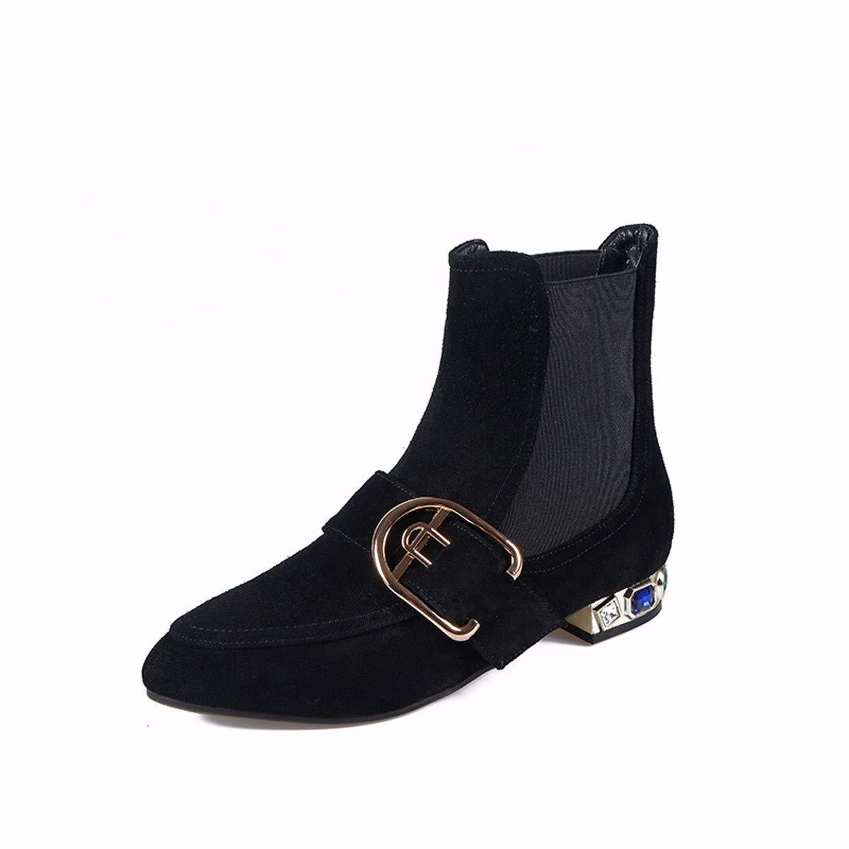 KPHY Damenschuhe Schleifen Leder Heel 2Cm Stiefel Stiefel Stiefel Flachen Boden Wasser Läuft Metall Dekoration Martin Stiefel Und Stiefeletten 100 Sets. a5e770