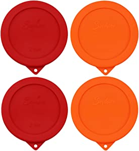 Sophico 2 Cup Round Silicone Storage Cover Lids Replacement for Anchor Hocking and Pyrex 7200-PC Glass Bowls (Container not Included)   Red-Orange   4 Pack