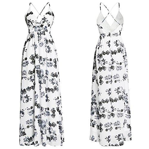 JIALELE Vestido Fiesta Mujer,De Fiesta,Vestidos Para Mujer Impresión Con V Larga Falda Larga Blanco