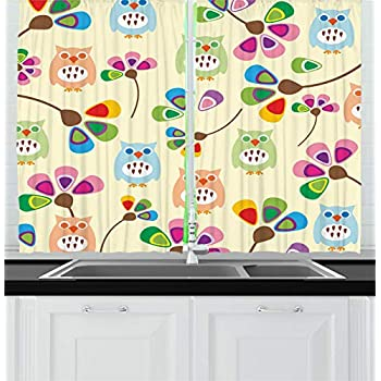 Ambesonne Cartoon Kitchen Curtains, Design Owls with Flowers Leaves Branches Design for Kid Nursery Room Landscape, Window Drapes 2 Panel Set for Kitchen Cafe Decor, 55