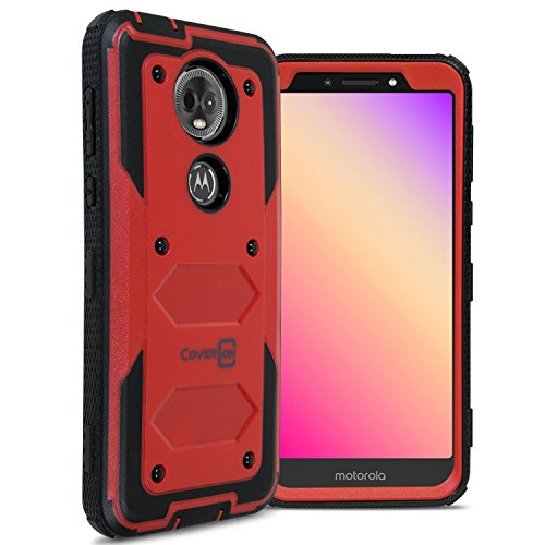 Moto E5 Plus Case, Moto E5 Supra Case, CoverON [Tank Series] Protective Full Body Phone Cover with Tough Faceplate for Motorola Moto E5 Plus / E5 Supra - Red