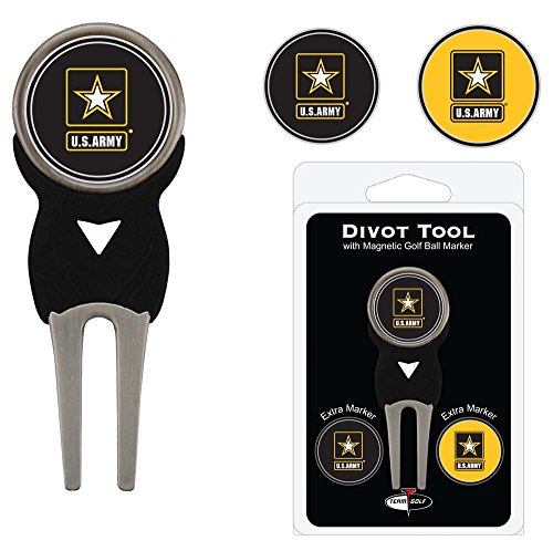 Team Golf Military Army Divot Tool with 3 Golf Ball Markers Pack, Markers are Removable Magnetic Double-Sided Enamel