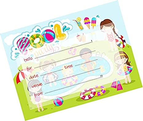 Partystuff Cards Pool Party Invitation Card 3 Amazon In