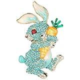EVER FAITH Austrian Crystal Enamel Adorable Rabbit with Carrot Brooch Pendant Blue Gold-Tone