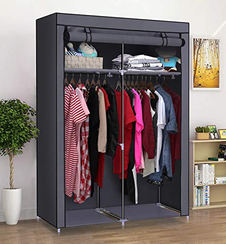YOUUD Closet Organizer Wardrobe Portable Wardrobe Storage Clothes Closet Portable Closet Rod Storage Closet Standing Closet Folding Closet Portable Closet Organizer Wardrobe Closets Grey - bedroomdesign.us