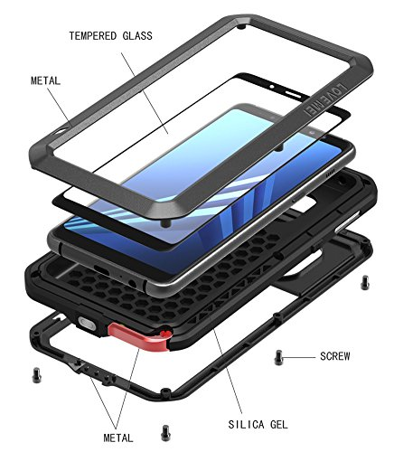 Love MEI Waterproof Aluminum Case Samsung Galaxy A8 Plus (2018 Version) Tempered Glass Screen Cover Protector Black [Two-Years Warranty] by Love Mei (Image #6)