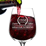 1958 Vintage Edition Birthday Wine Glass for Men and Women (60th Anniversary) 12 oz, Elegant Happy Birthday Wine Glasses for Red or White Wine | Classic Birthday Gift, Reunion Gift for Him or Her